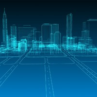 max abstract wireframe cityscape