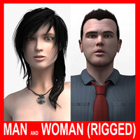 3d model realistic man woman rigged