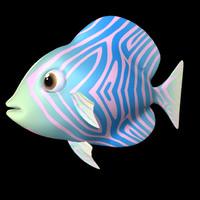 3d royal blue fish