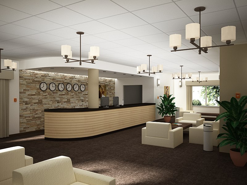 Hotel reception 3d max for Design hotel 3d