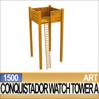 3dsmax conquistador watch tower 1500