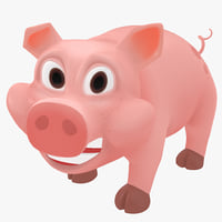cartoon pig rigged 3d model