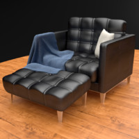 3d model modern leather armchair