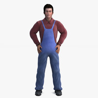 3d 3ds worker man human