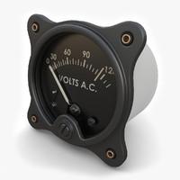 3d model vintage ac voltmeter