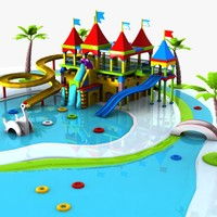 3ds max cartoon waterpark water