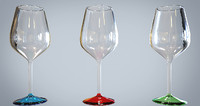 3d colorful glasses red wine model