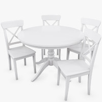 Set of IKEA Liatorp table and Ingolf chairs
