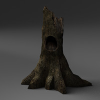 3d model hollow forest tree stump