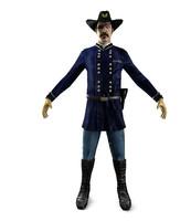 3d 1800s american soldier model