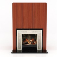 stone modern fireplace 3d max