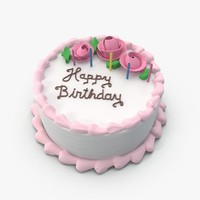 3d model happy birthday cake
