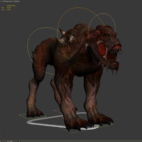 monster dog rigged skin 3d model