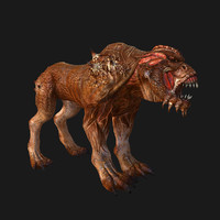 monster dog rigged skin 3d max