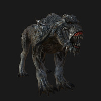 3d model monster dog rigged skin