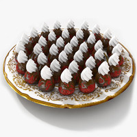 strawberry chocolate bowl fruit 3d max
