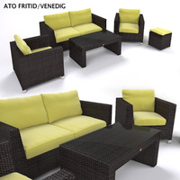 furniture rattan sofa armchair 3d model