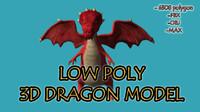 cartoon style dragon modeled 3d max