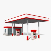 maya low-poly gas station