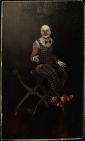 3d clown puppet sitting