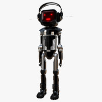 cartoon robot character led 3d max