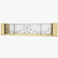 3d wrought iron balcony model