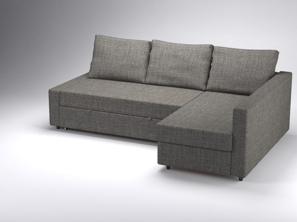 Corner sofa bed friheten ikea 3d 3ds for Sofa bed 3d model