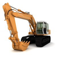 3d model fiat hitachi excavator fh200