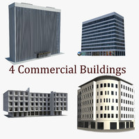4 commercial buildings 3d model