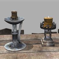 3d model grunge candleholders