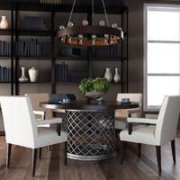 3d model american modern dining room