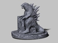 godzilla sculpture 3d model