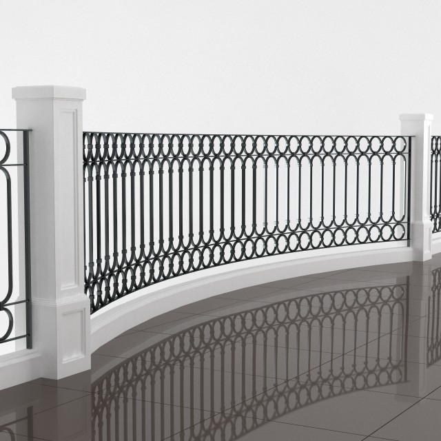 Classic balcony railing 3d model for Balcony models
