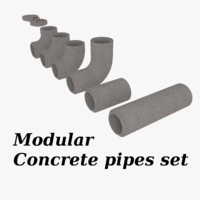 3d model set concrete pipe pack