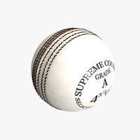 3d model white cricket ball