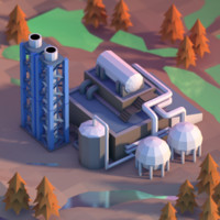 Lowpoly chemical plant