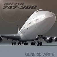 3d boeing 747-300 plane generic model