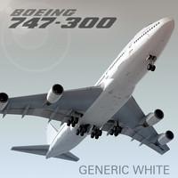 boeing 747-300 plane generic 3d c4d