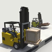 3d model warehouse loading dock forklifts