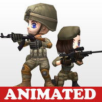 chibi soldier girl