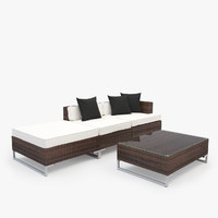 Garden Furniture - Synthetic Rattan Sofa, Table, Armchair, Ottoman
