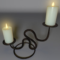3d model candle holder rusty