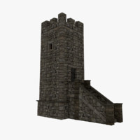 medieval stone tower obj