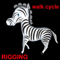 3d model zebra walk cycle