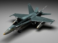 highpoly fighter bomber fa-18 3d model