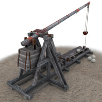 3d trebuchet games modelled model