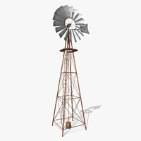 low-poly wind pump rusty 3d model