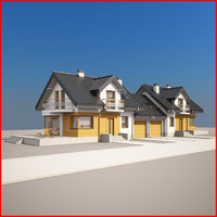 3d nice semi-detached house