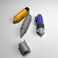 pencils cartoon pen 3d model