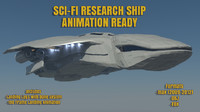 3d model sci-fi research space ship